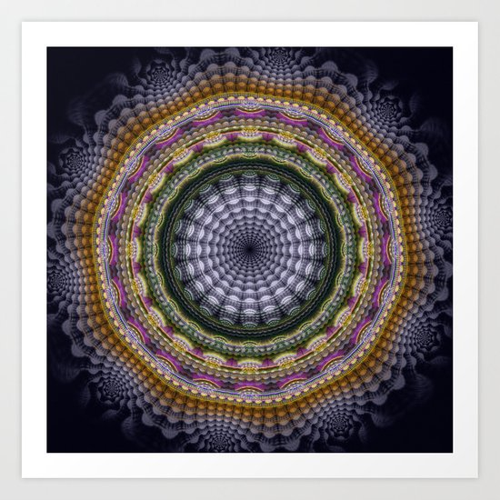 Mandala with optical effects and tribal patterns Art Print