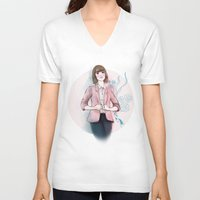 peach V-neck T-shirts featuring Peach by missjosh