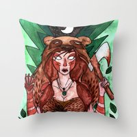 skyrim Throw Pillows featuring Skyrim Warrior by Jazmine Phillips