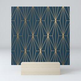 Benjamin Moore Hidden Sapphire Geometric Gold Pattern  Mini Art Print