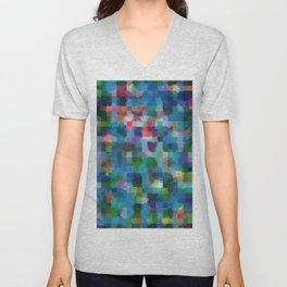 geometric square pixel pattern abstract in blue green pink yellow Unisex V-Neck