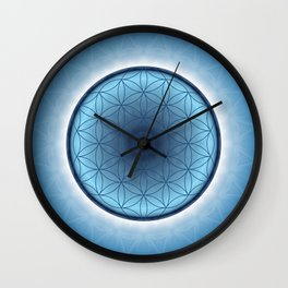 Flower of Life blue 2 Wall Clock