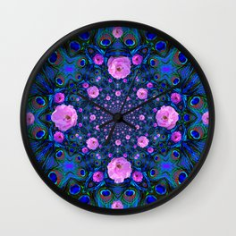 DECORATIVE HUNDRED  PINK ROSES & BLUE  ABSTRACT Wall Clock