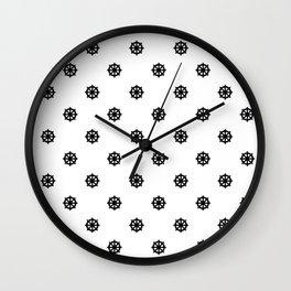 Dharma Wheel Pattern (Black and white) Wall Clock