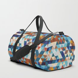 Geometric Triangle Blue, Brown  - Ethnic Inspired Pattern Duffle Bag