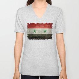 Flag of Syria, vintage retro style Unisex V-Neck