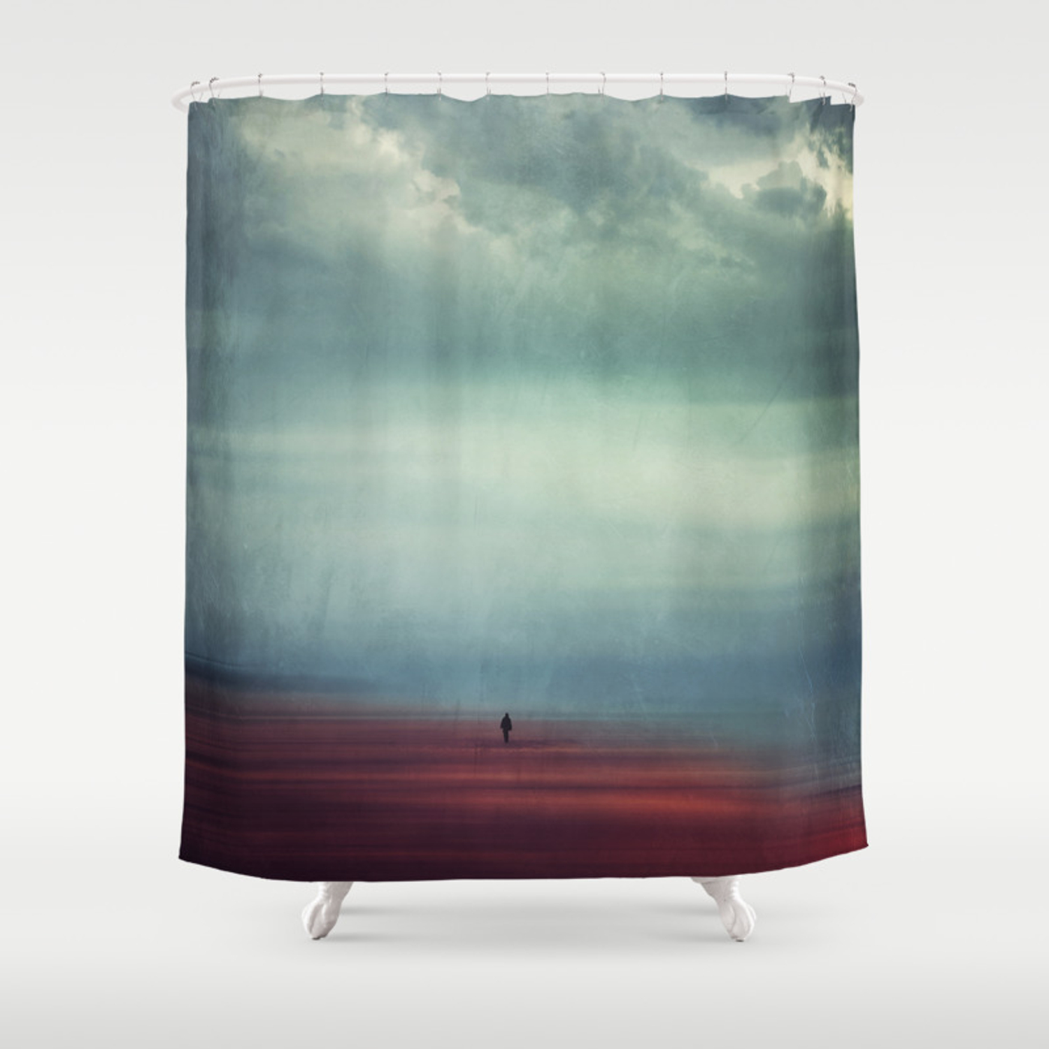 Nothing Matters Abstract Minimal Beach Scene Shower Curtain
