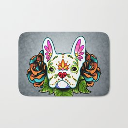 French Bulldog in White - Day of the Dead Sugar Skull Dog Bath Mat