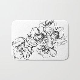 Flowers Line Drawing Bath Mat
