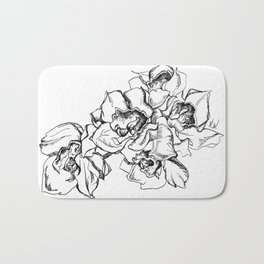 Flowers Line Drawing Bath Mat