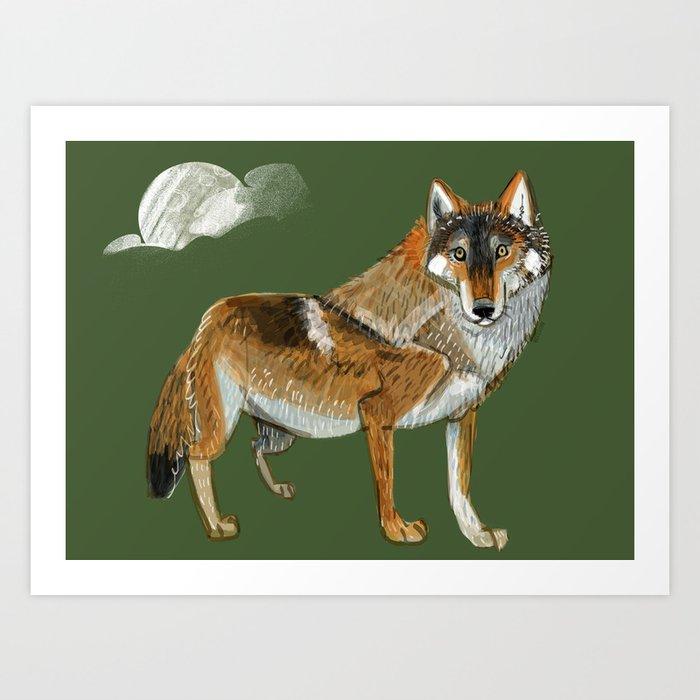 Totem Carpathian wolf Art Print