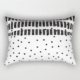 Modern black white  watercolor brushstrokes polka dots Rectangular Pillow