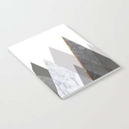 Marble Gray Copper Black and White Mountains Notebook