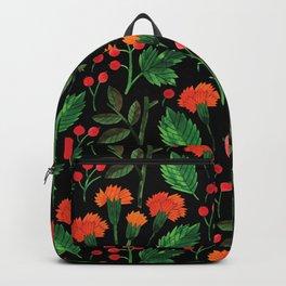 Orange green pink watercolor hand painted floral berries Backpack