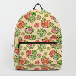 Colorful doodle flowers - Spring Pattern Backpack