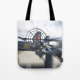 Attack with gun on Soviet plane Tote Bag