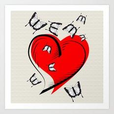 Butterflies on a red heart, a symbol of romance Art Print