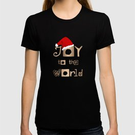 Christmas Design - Joy to the World in Gold Design and Red Santa Hat T-shirt