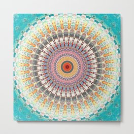 Teal Orange Yellow Boho Mandala Metal Print