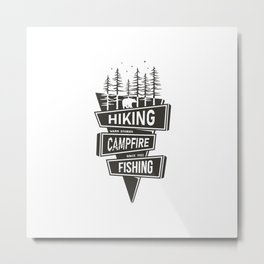 Hiking Campfire Fishing Metal Print