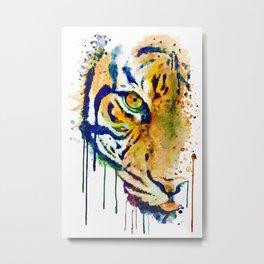 Half Faced Tiger Metal Print