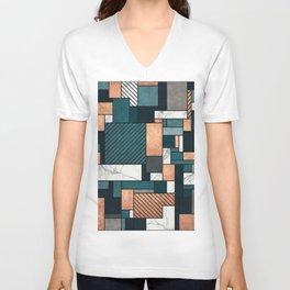 Random Pattern - Copper, Marble, and Blue Concrete Unisex V-Neck