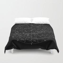 Constellation Map - Black & White Duvet Cover