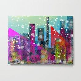 Snowy Stylized City Metal Print
