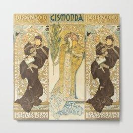 "Alphonse Mucha ""Théâtre de la Renaissance: Lorenzaccio / Gismonda"" Metal Print"