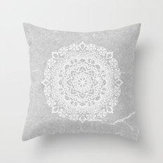 Mandala on concrete Throw Pillow