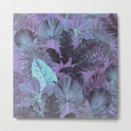 Tropical Leaf Lilac Metal Print