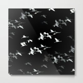 Abstract Black and White Crane Flock #decor #society6 #buyart Metal Print