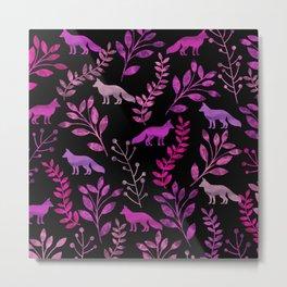 Watercolor Floral & Fox II Metal Print