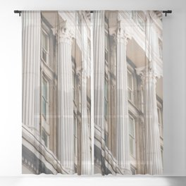 Pillars of the Neighborhood - NYC Photography Sheer Curtain