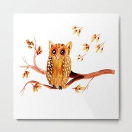 Beautiful Watercolor Autumn Element Metal Print