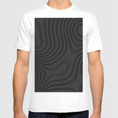 Organic Abstract 01 BLACK MEDIUM Mens Fitted Tee White