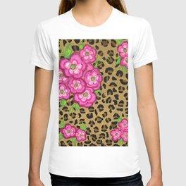 Floral leopard print T-shirt