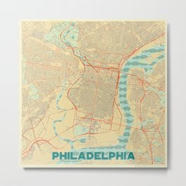 Philadelphia Map Retro Metal Print
