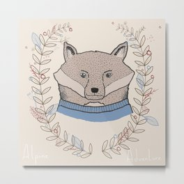 Alpine Adventure - Nigel the Fox Metal Print
