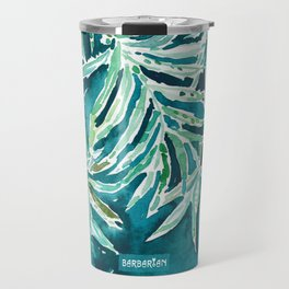 SANTA CRUZIN' Navy Tropical Palm Leaves Travel Mug