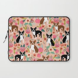 Boston Terrier cute floral pattern spring summer happy pet portrait dog person gift must haves dogs Laptop Sleeve