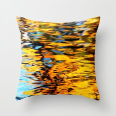 Liquidum Ignis. Fall Tree Reflections in a Pool of Water Throw Pillow