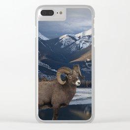 Bighorn Ram Sheep at waters edge in Jasper National Park Clear iPhone Case