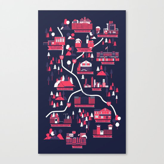 The Survivors Map (dark edition) Canvas Print