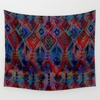 ikat Wall Tapestries featuring Ikat #2A by Schatzi Brown