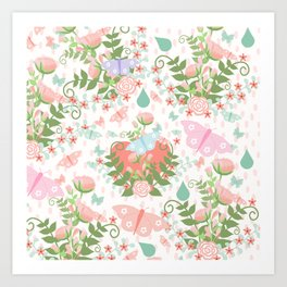 Pastel coral pink green butterfly floral polka dots Art Print