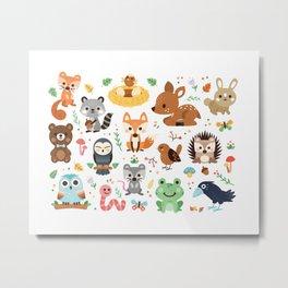 Woodland Animal Metal Print