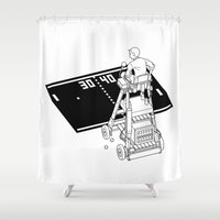 tennis Shower Curtains featuring Tennis Match by Vector Vectoria