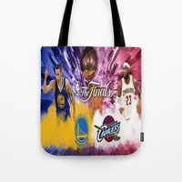 basketball Tote Bags featuring Basketball  by RickART