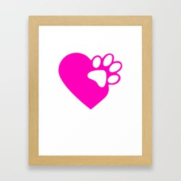 Cute Heart Paw Print product Funny Love Gift For Cat Owners Framed Art Print